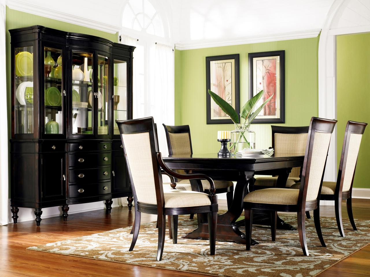 Green dining room photos hgtv for Beautiful dining room furniture