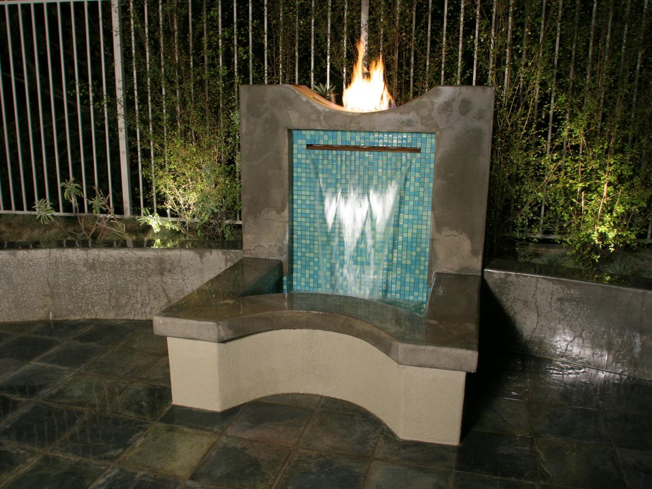 Fountains and waterfalls outdoor spaces patio ideas for Garden fountains and water features