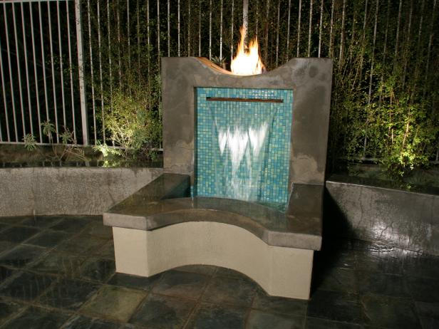 Outdoor Water Fountain With Fireplace