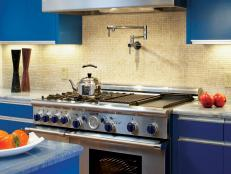 Modern Blue Kitchen With Mosaic Backsplash