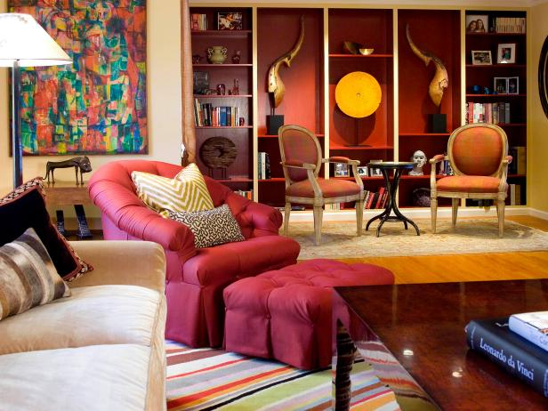 Colorful, Eclectic Living Room With Artwork and Plum-Colored Chair