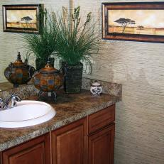 Asian Style Bathroom With Textured Wallpaper