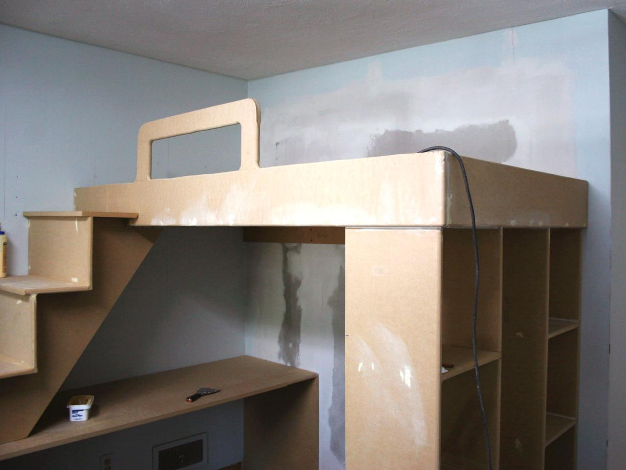 How to build a loft bed with a desk underneath hgtv for How to make a loft room