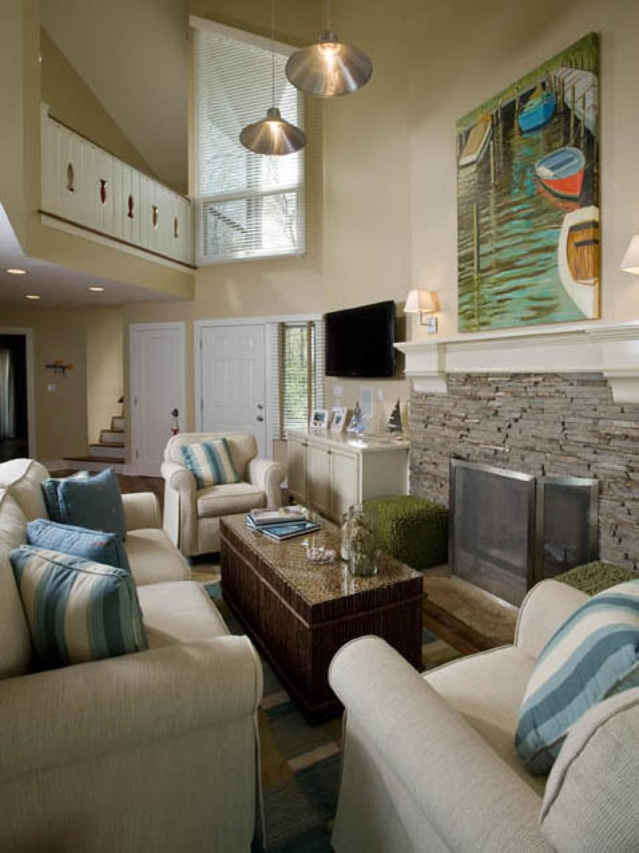 Coastal living room ideas living room and dining room - Living room artwork ideas ...