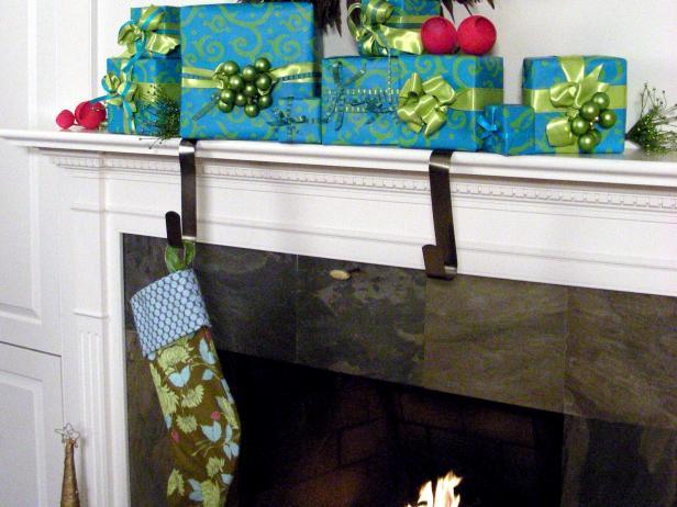 Wrapped gift stocking holders hgtv for Mantle holders
