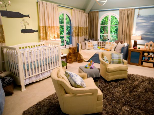 Nautical Nursery With Sitting Area and Whale Art