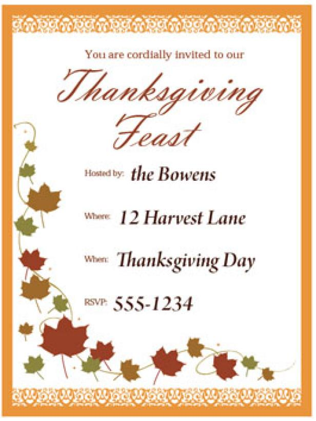 Print a customizable Thanksgiving invite from HGTV – Thanksgiving Party Invitation Wording