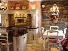 French Country Kitchen and Dining Area With Stone Wall