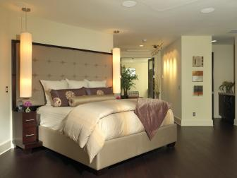 Neutral Contemporary Bedroom with Purple Asian-Inspired Accents