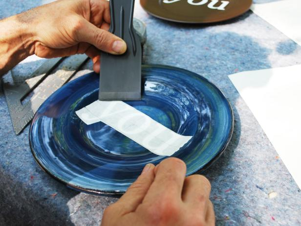 Applying Decal to Blue Plate