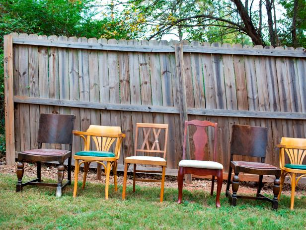 Eclectic Dining Room Chairs In Yard