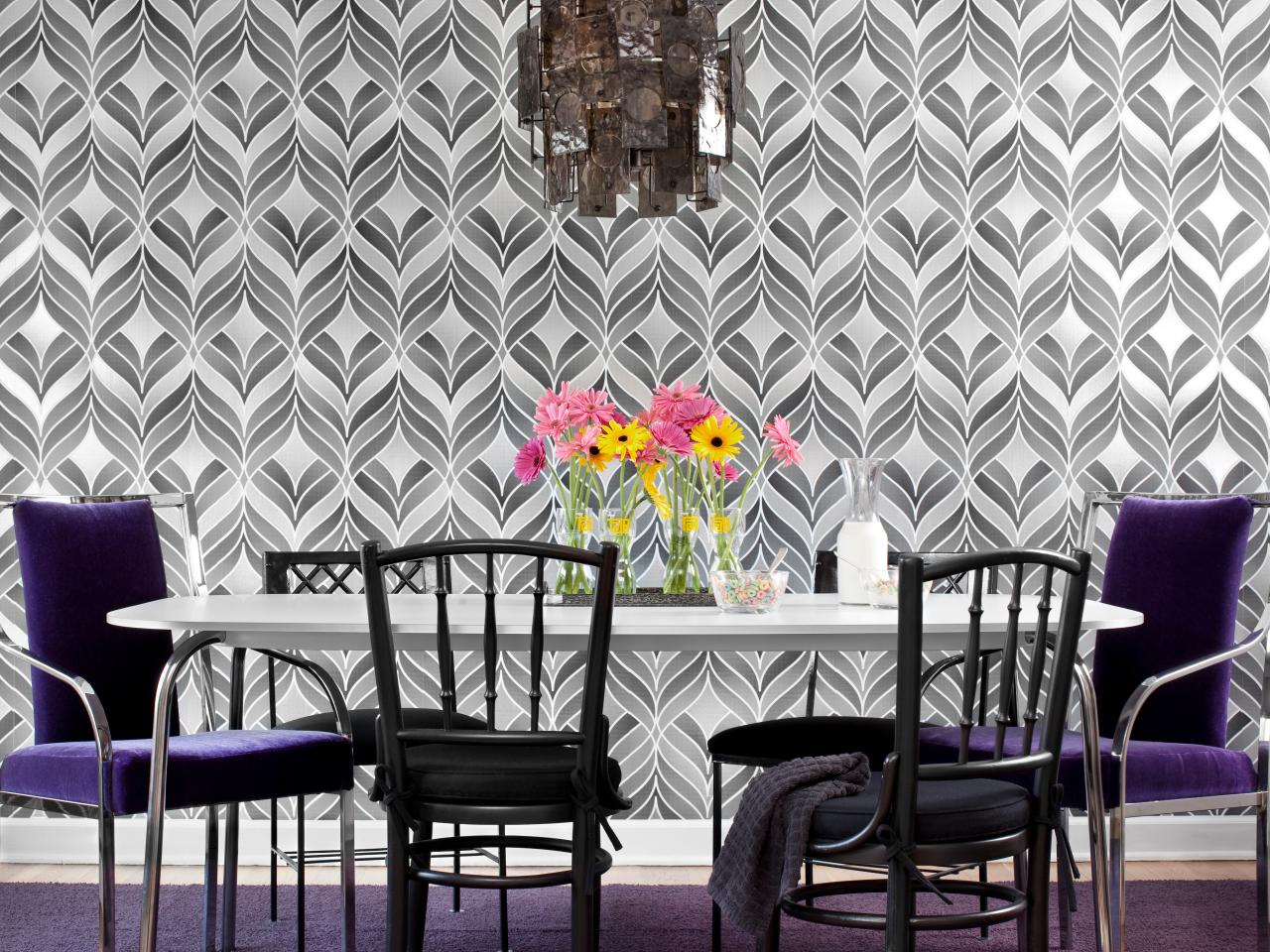 Create a bold dining room with wallpaper hgtv for Dining room wallpaper