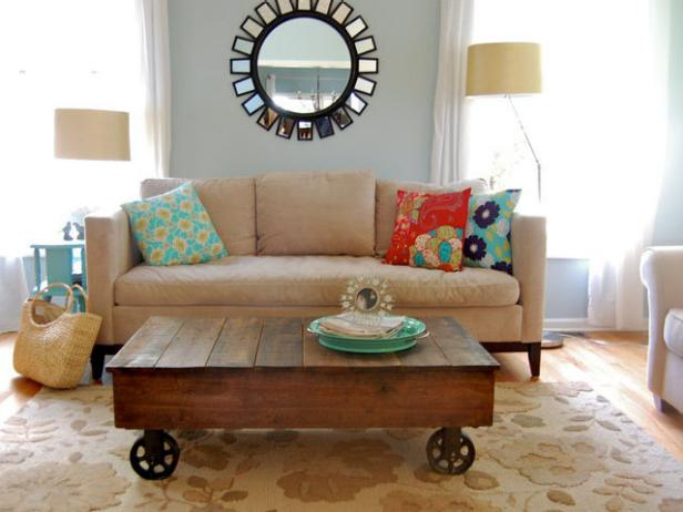 Light Blue Transitional Living Room With Rolling Coffee Table