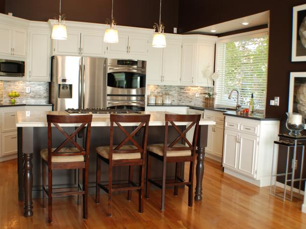 Brown and White Traditional Kitchen With Stainless Steel Appliances
