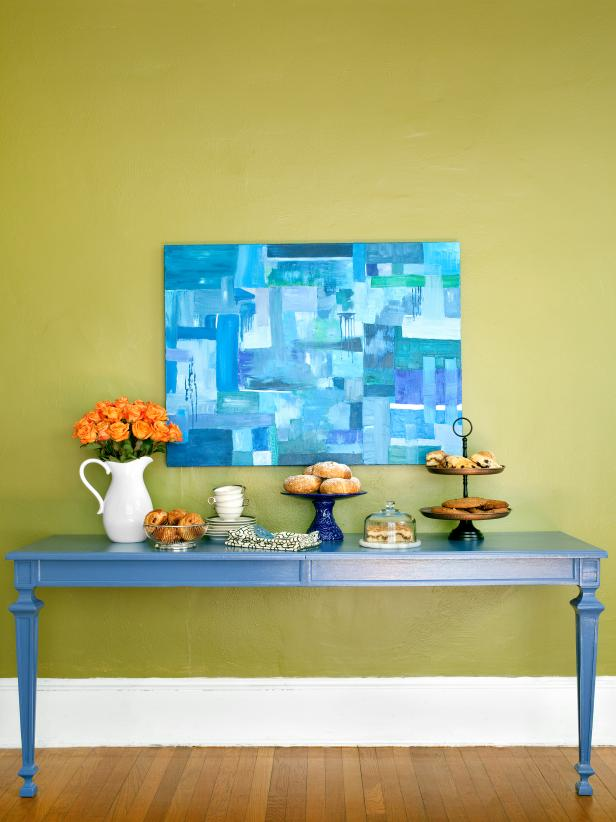 Blue Buffet Table and Blue Artwork