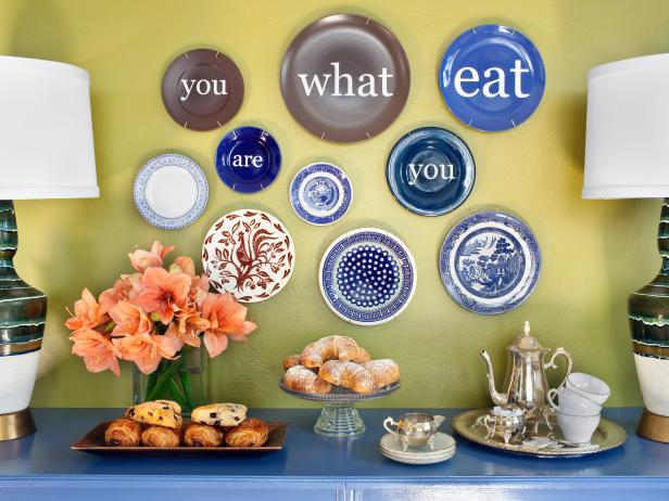 Blue and Brown Decorative Plates With Decals