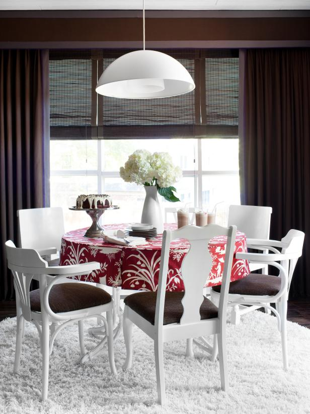 Contemporary White And Brown Dining Room