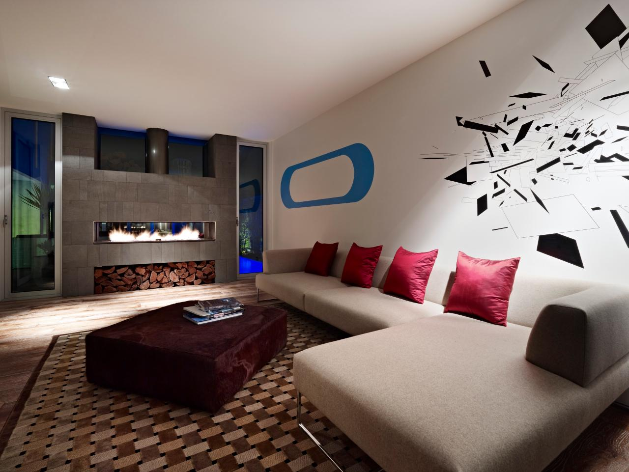 Funky contemporary living room with fireplace hgtv Modern living room with fireplace