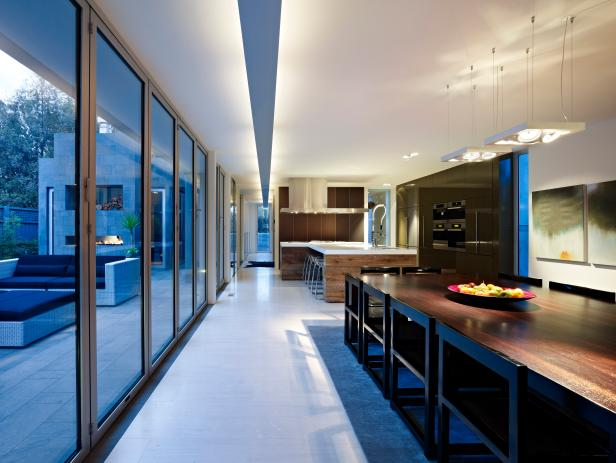 Large Kitchen With Sliding Glass Doors to Outdoors