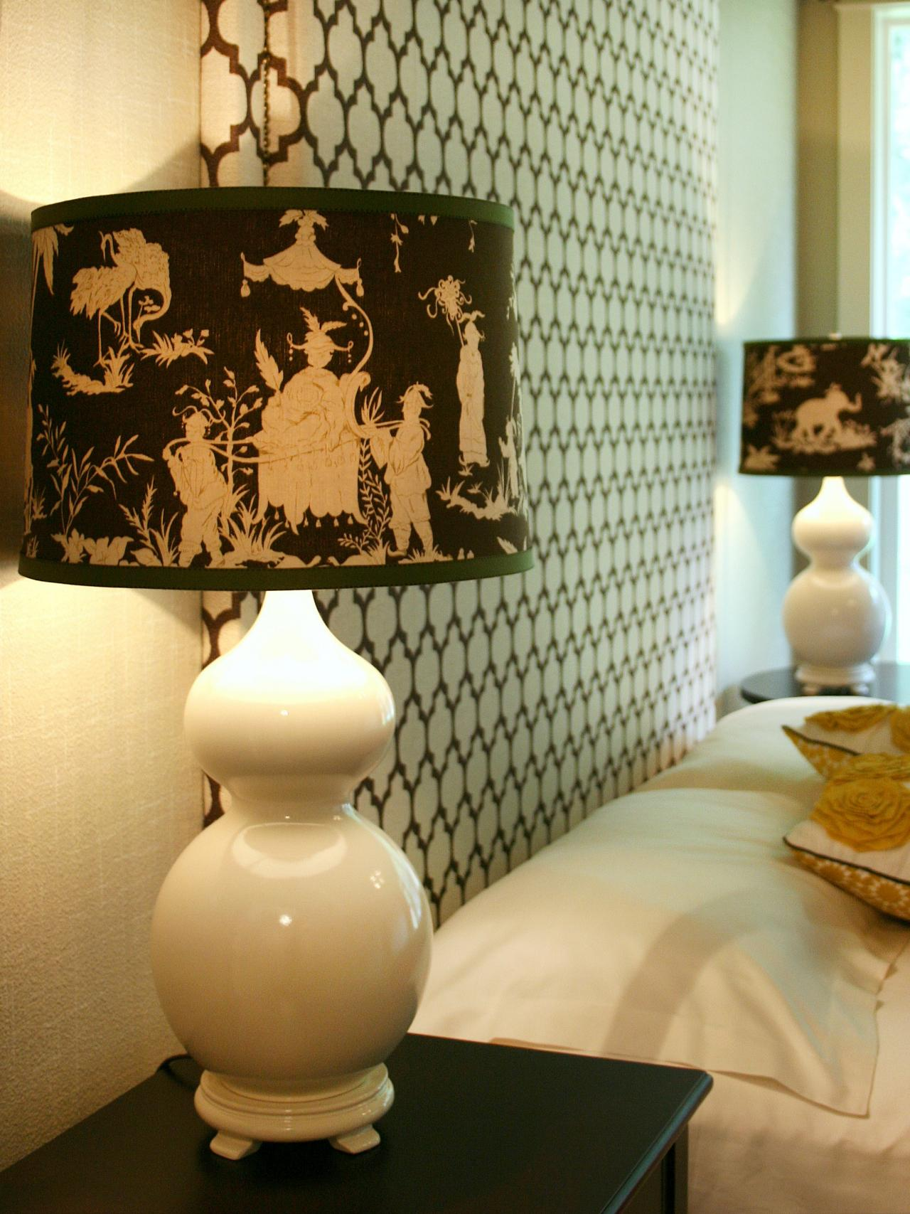 White Lamp With Trendy Brown Patterned Lampshade - Custom Fabric-Covered Lampshade HGTV