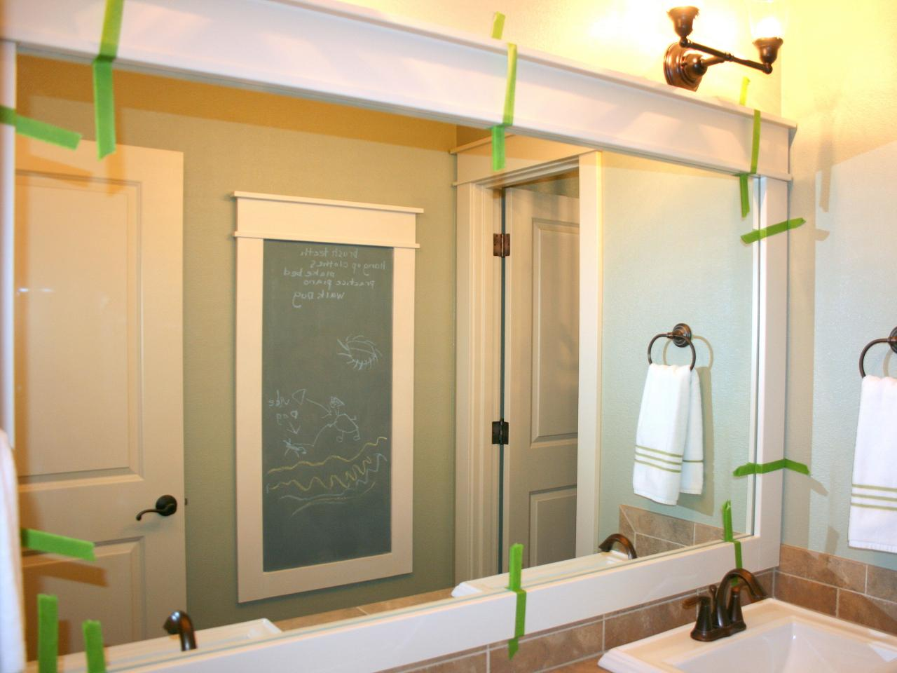 Framed bathroom mirrors ideas - Step 13 Check Placement And Tape