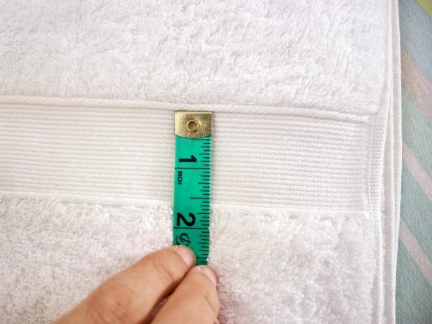 Measure Bath Towel for Ribbon Placement