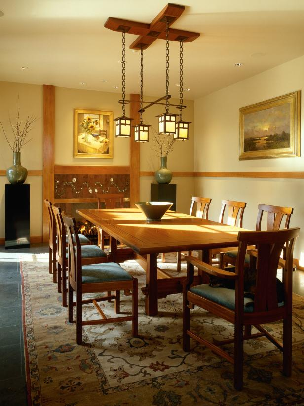 Old World Styled Dining Room with Hanging Lantern Fixture