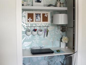 Eclectic Blue and Silver Closet Office