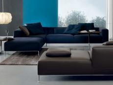 Navy Blue Sectional in Swanky Contemporary Living Room