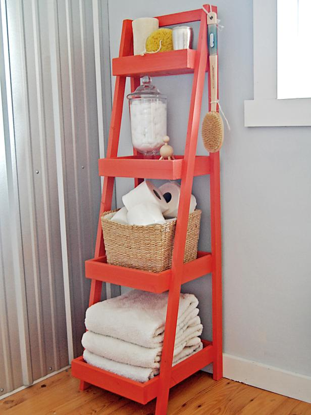 Freestanding, Colorful Bath Storage Tower