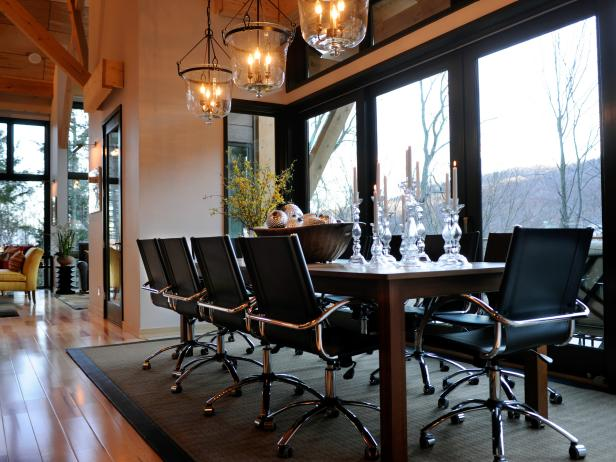 Dining Room With Leather Pneumatic Dining Chairs and Mountain View