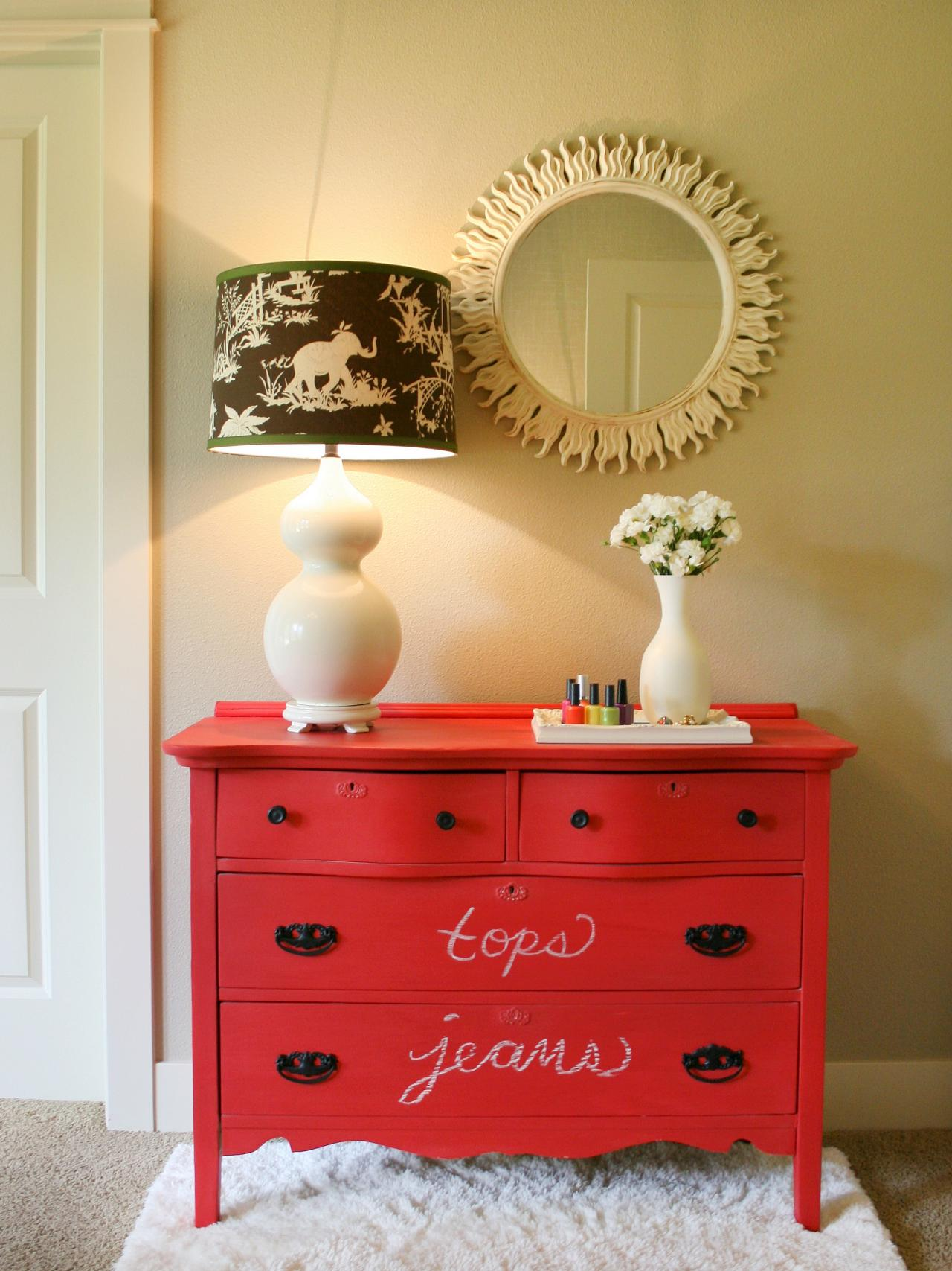 Create a colorful chalkboard dresser hgtv for Ideas for painting a dresser
