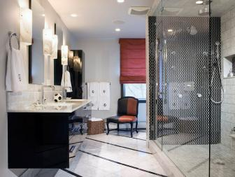 Modern Black and White Master Bathroom