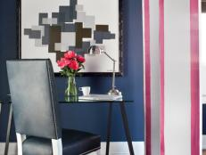 Navy Blue Contemporary Office With Pink and White Divider