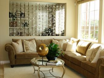 Shimmery Capiz Shell Curtain in Cream Living Room