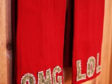 Red Text Speak Embellished Hand Towels