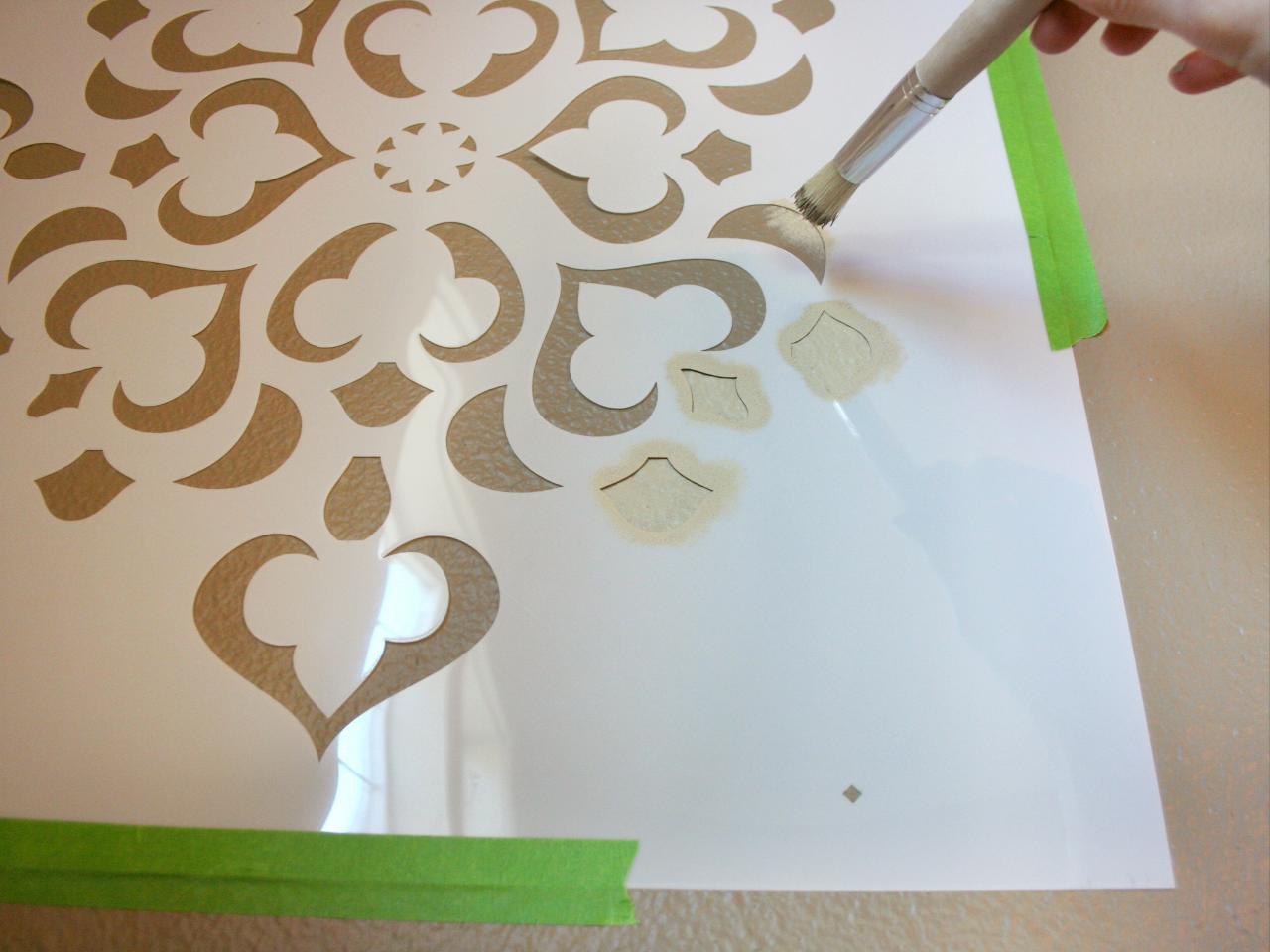 Design Stencils For Walls design studios large ribbon damask wall stencil Paint Using Stippling Method