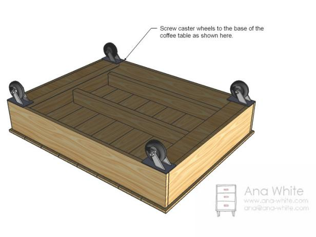 Attach Wheels to Coffee Table