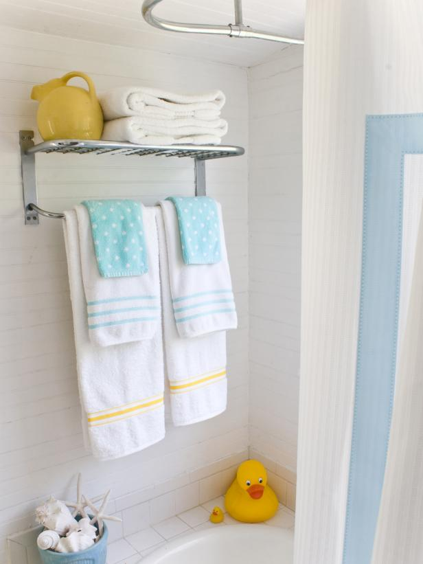 Sterling Towel Rack and Linens in Guest Bathroom Shower