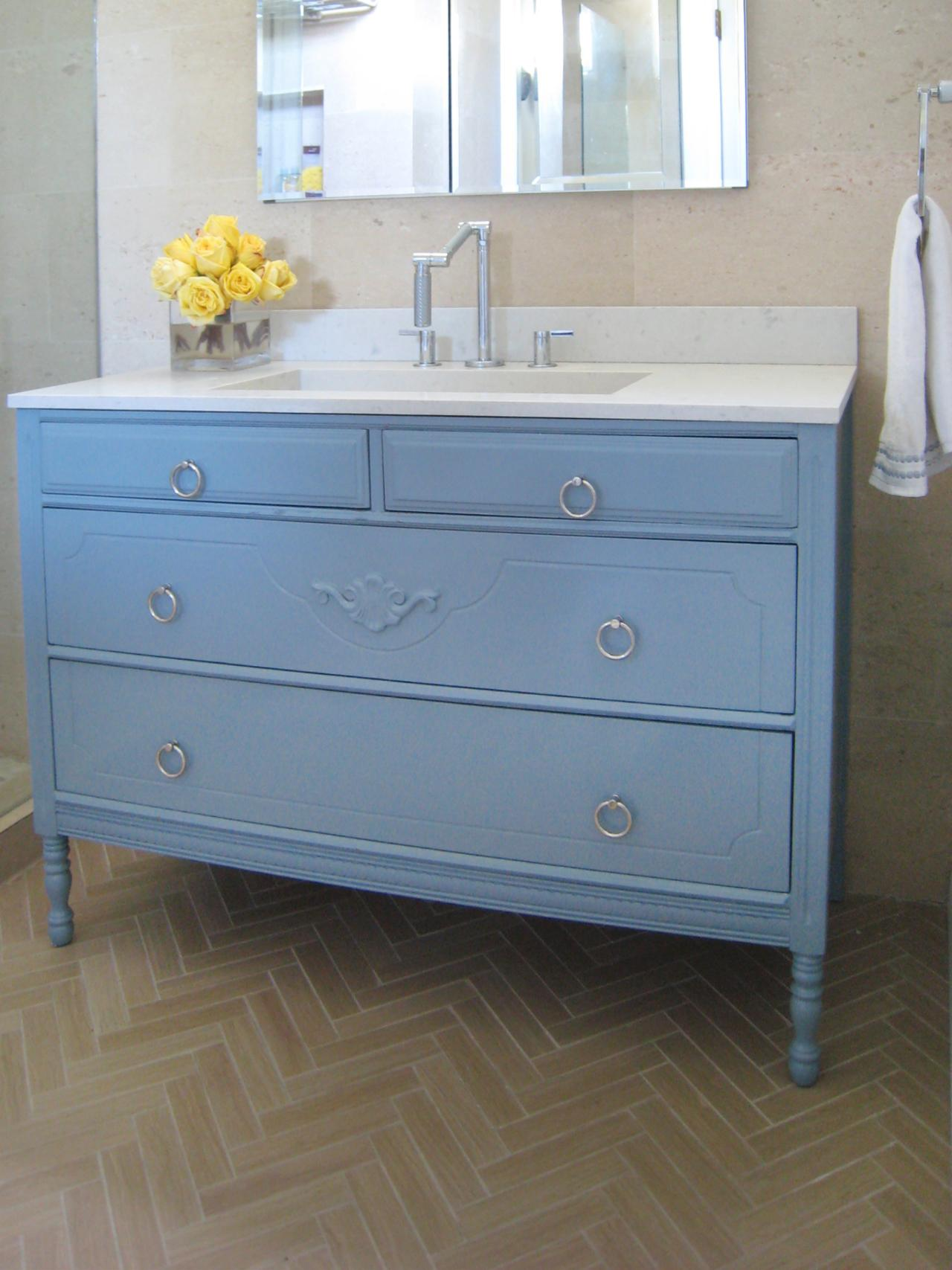 How To Turn A Cabinet Into A Bathroom Vanity HGTV - Blue bathroom vanity cabinet for bathroom decor ideas