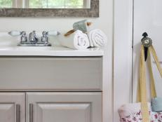 Shabby Chic Bathroom With Gray Vanity