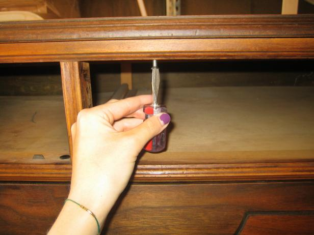 Remove Drawer & Unscrew Top of Dresser