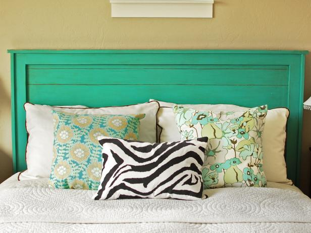 Turquoise Headboard with Decorative Pillows
