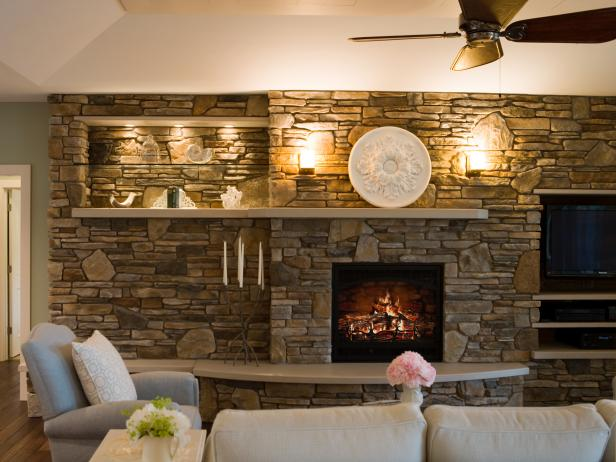 Cottage Casual Living Room Stone Fireplace