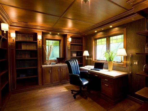 Craftsman-Style Home Office With Wood Ceiling and Built-Ins