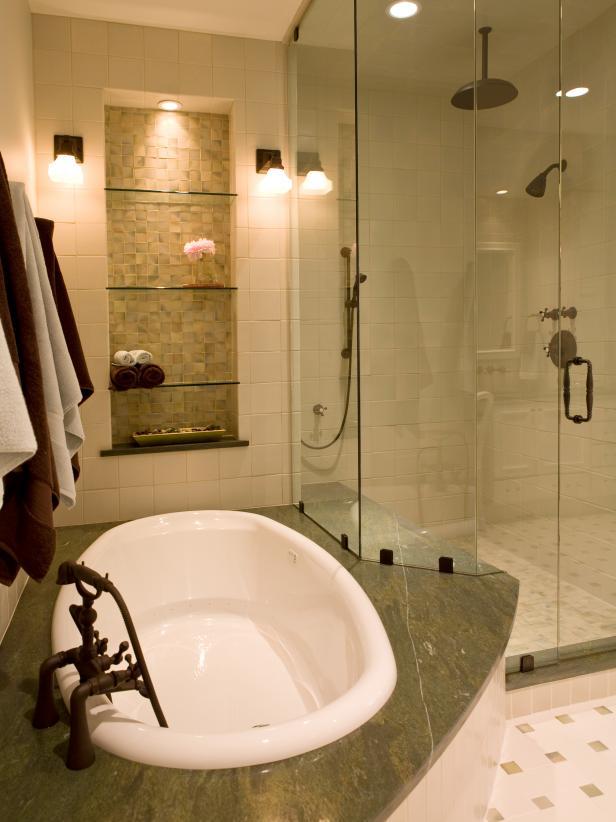 Contemporary Master Bathroom With Granite-Surround Tub
