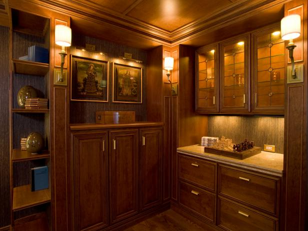 Traditional Office With Wood Cabinets and Bookshelves