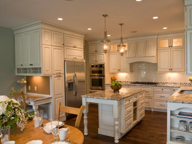 White, Cottage Kitchen With Granite Countertops