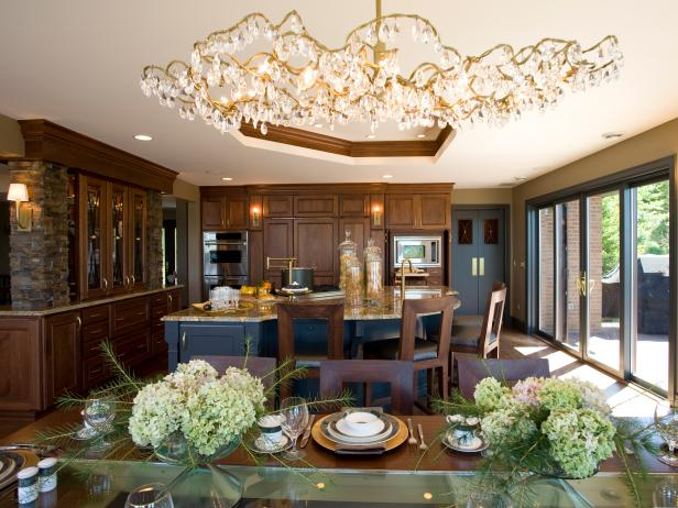 Kitchen With Large Island, Wood Cabinets and  Mirrored Tray Ceiling