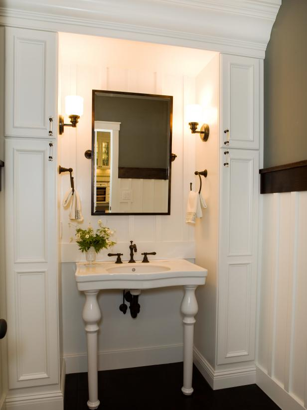 Traditional White Bathroom With Pedestal Sink